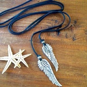 925 Leather Angel Wings Wrap Necklace